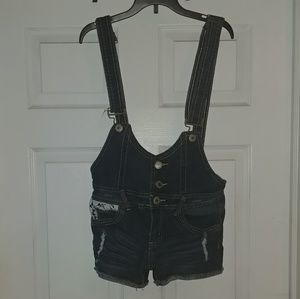 Almost Famous Distressed Denim Overalls Lace